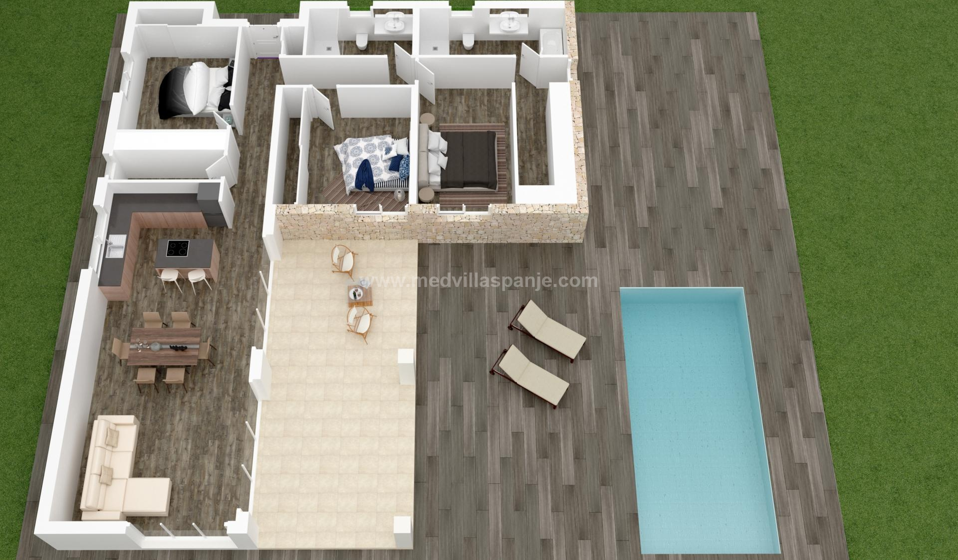 New Villas Off Plan for sale in Hondon de las Nieves, Alicante in Medvilla Spanje