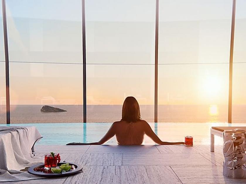 Luxury Apartment spacious terrace 1 ° line beach Benidorm in Medvilla Spanje